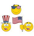 patriotic yellow cartoon emoji face collection - 2 vector image vector image
