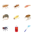Pests of homes icons set cartoon style