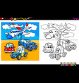 planes and cars characters coloring book vector image vector image