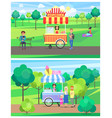 popcorn and ice cream vans in green summer park vector image vector image
