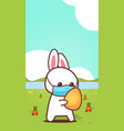 rabbit holding egg wearing face mask to prevent vector image vector image