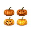 realistic pumpkin set - head jack lantern icon vector image vector image