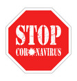 red sign stop coronavirus isolated on white vector image