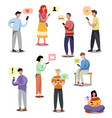 set different modern people that receive sms at vector image vector image