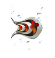 silver red little glossy 3d fish cartoon funny vector image vector image