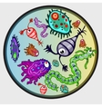 Various microbes colorful image of creature vector image vector image