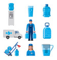 water delivery service icons vector image vector image