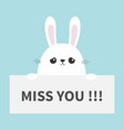 white sad bunny rabbit hanging on paper board miss vector image vector image