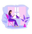 work at home freelance girl works on a vector image vector image