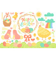 set of festive decorations for happy easter vector image