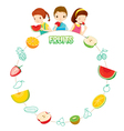 Children And Fruits Objects Icons On Circle Frame vector image