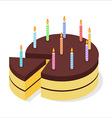 Chocolate cake birthday Festive candles on pie vector image