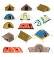 colorful tourist tents set vector image
