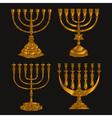 Jewish religious symbol menorah isolated on white vector image