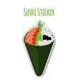 sushi sticker asian food with salmon rice label vector image