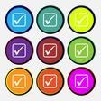 A check mark icon sign Nine multi colored round vector image vector image