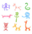 animal figures made of balloons poster isolated on vector image