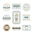 barber shop vintage isolated label set vector image