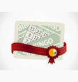 bingo gift card and ribbon with crest and ball vector image vector image