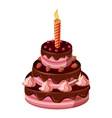 Birthday cake with candle icon isometric 3d style vector image vector image