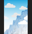 blue mountain of geometric shapes and clouds vector image vector image