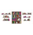 book on shelf bookshelf with books in library vector image vector image