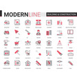 building construction flat line icons vector image