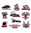 car race motor racing icons set vector image