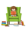 child sits on a chair and reads a book vector image vector image