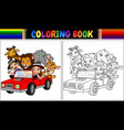 coloring book with funny kids and animal cartoon o vector image vector image