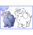 Coloring page Happy blue elephant raised his trunk vector image vector image