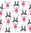cute seamless pattern with funny rabbits vector image vector image