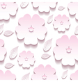 Decorative floral seamless pattern 3d sakura vector image vector image