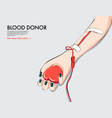 donor hand with dropper heart blood donation vector image
