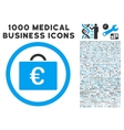 Euro Bookkeeping Case Icon with 1000 Medical vector image vector image