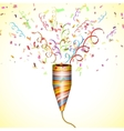 Exploding Party Popper With Confetti vector image vector image
