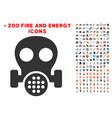 gas mask icon with bonus energy set vector image