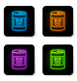 glowing neon canned food for dog icon isolated on vector image vector image