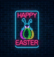 glowing neon sign of easter bunny with eggs vector image vector image
