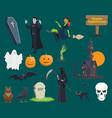 halloween pumpkin ghost icons vector image