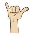 hang loose hand sign vector image vector image