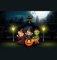 happy kids wearing halloween costume outdoors at n vector image vector image