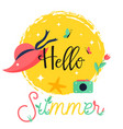 hello summer bright poster banner vector image vector image