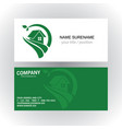 home green nature logo business card vector image