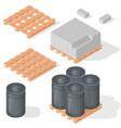 isometric barrels concrete block vector image vector image
