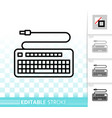 keyboard simple black line icon vector image