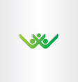 letter w and v healthy people green icon vector image