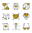 love icons in gold heart shape vector image vector image