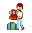man holding backpack suitcase travel vacations vector image vector image