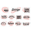 meat and sausages butcher shop lettering sketch vector image vector image